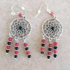 Black Onyx Earrings Red Jade Dream Catcher Earrings Gifts for Her  Native American Earrings  Handmade Healing Gemstone Earrings#744 by AlsJewelryDesigns on Etsy
