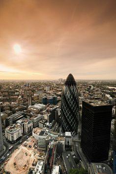 """Sunrise over the Gherkin"" (London), via flickr"