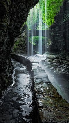 Behind the Falls - the path that leads you behind Rainbow Falls, in Watkins Glen State Park, New York - by Bill Wakeley.