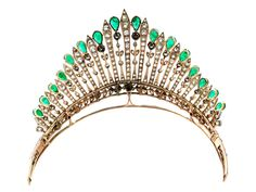 Antique diamond and emerald tiara Diameter: ca. 11 cm. Width at front: ca. 6.3…