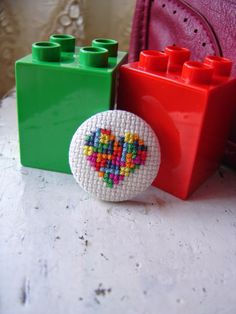 Embroidery brooch The tetris heart by PatHoodPoint on Etsy