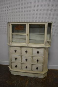 """Painted Pa. Apothecary Cabinet 66""""H, 55""""L, 15""""W."""