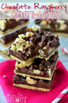 Chocolate Raspberry Crumb Bars | MomOnTimeout.com #chocolate #recipe