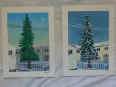 afternoon and evening acrylic painting of pine tree in Fairbanks, AK in early winter. Buy at: https://www.etsy.com/listing/187864363/alaskan-pine-throughout-the-day-4-part