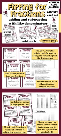 """Help your students become proficient with adding and subtracting fractions with like denominators with this double set of activity cards.  Includes a set of 32 """"I Have…Who Has?"""" activity cards, a set of 32 problem solving task cards, and 2 graphic reference sheets, perfect for math notebooks. $"""