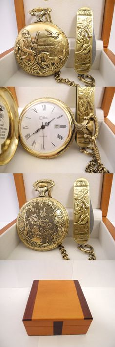 Other Pocket Watches 398: Colibri Antiqued Goldtone Hunter Pocket Watch/Date/Chain/Knife Wood Box New! BUY IT NOW ONLY: $69.99