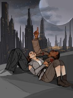 The Dreamers. I wanted Rey and Finn to do some rooftop stargazing on Coruscant, and the wonderful drawing on commission, gave me this amazingly beautiful scene, which is exactly how I'd pictured it! Thank you so much Annalise! Finn Star Wars, Star Wars Fan Art, Anime Couples, Cute Couples, Interracial Art, Rey And Finn, Star War 3, The Force Is Strong, Reylo
