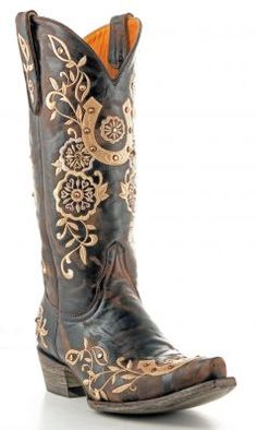 The Old Gringo Lucky western cowgirl boot features three embroidered horseshoes with decorative floral vines to turn your luck around. The boot is made from a vintage brown leather for a used look and has a snip toe, western heel and 13 Cowgirl Chic, Cowgirl Style, Cowgirl Boots, Riding Boots, Cowgirl Outfits, Botas Western, Western Wear, Western Boots, Cute Shoes