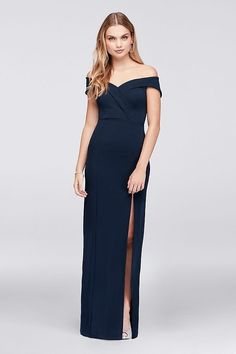 89c252e01bf4 Off-The-Shoulder Scuba Crepe Sheath Prom Dress | David's Bridal | Navy prom