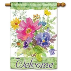 """Fresh Bouquet BreezeArt House Flag - Double Sided by Gold Crest. $27.00. Decorative   Seasonal House Flag   featuring colorful bouquet. Pretty background and border by Artist Gail Flores. Printed Seasonal House Flag Measures  28"""" x 40"""".   Unique double-sided house flag reads correctly from both sides.   For tangle free decorative flags and banners, use our rotating flagpoles."""