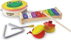 Vilac 7 Piece Musical Instrument Set by Vilac. $29.32. This set contains a metal xylophone, a tambourine, triangle and castanets to explore the joy of music. Designed in France. Recommended for Ages 3+.