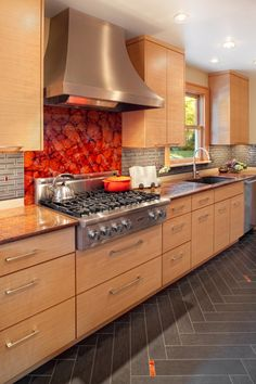 kitchen backsplash ideas with red Backsplash With Red Accent Tile
