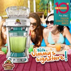 New Jimmy Buffett Anniversary Edition Key West™ Frozen Concoction Makers®! This collector's item comes with Jimmy's signature engraved on the party machine!