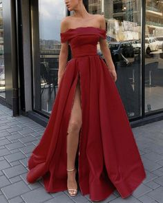8e471886d3 Amazing Mint Red  Pink Yellow A Line Evening Prom Dresses Long Satin Off  Shoulder Sexy High Split PL2211