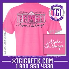 TGI Greek - Alpha Chi Omega - Hand Drawn House Design - Comfort Colors  #tgigreek #alphachiomega