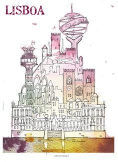 Items similar to Lisbon Lisboa - Poster Illustration on Etsy Travel Illustration, Graphic Design Illustration, Andre Rocha, Interior Design History, Art Carte, Retro Poster, Acrylic Painting Lessons, Urban Sketching, Mural Art