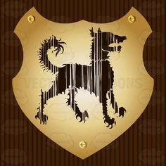 Curly Hair Dog Coat Of Arms On Gold Plate Screwed On Wooden Brown Background #achievement #ages #armorial #arms #bearings #cities #coat #country #crest #family #fight #heraldic #king #medieval #middle #nations #PDF #queen #roaylty #state #symbol #universities #vector-graphics #vectors #vectortoons #vectortoons.com