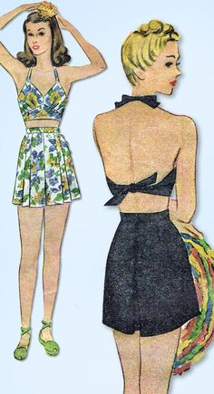 1940s Vintage McCall Sewing Pattern 5648 Misses WWII 2 Pc Bathing Suit Size 34 B #McCall #BathingSUit