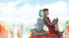 1javier: Not-so-Long-Distance-Relationship This is just Kai and Jinora having what would be the Avatar world's more awesome equivalent to a facetime/video-call date (up in the clouds).