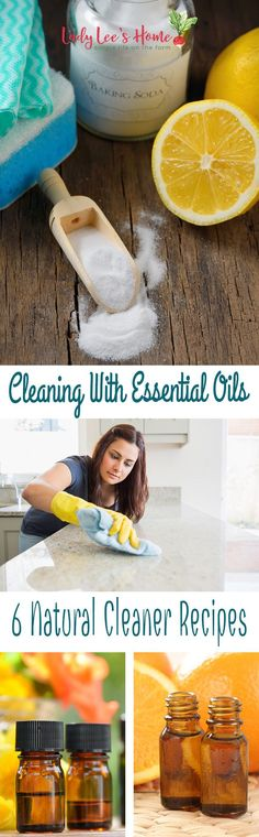 Cleaning with essential oils is super easy! Here are six simple recipes that you can mix in seconds. The best thing about this is that you can get your kids to help clean while all of you get healthier at the same time!  #LadyLeesHome #naturalcleaning #homemadecleaners #diycleaningproducts #greencleaning #naturalcleaniers #homesteading #essentialoils #cleaningwithessentialoils