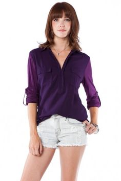 Everyday Top in Purple / Shopsosie #purple #buttondown #shopsosie