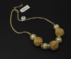 Style & Co Gold Tone Mesh and Imitation Bead Strand Frontal Fashion Necklace #StyleCo #StrandString