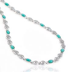 A 925 sterling silver necklace with turquoise oval shaped gemstones featuring the famous greek design, the Circle of Life. Symbol of the infinity of things in universe and the cyclical nature of life in ancient Greek mythology, this elegant and colourful necklace will make an eye-catching impression. A perfect piece of silver jewellery that will look stunning on your tanned skin during the summer. Match it with similar greek design sterling silver earrings and get ready to shine.