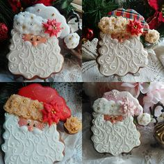Love the beards on these santas Santa Face Cookies // Teri Pringle Wood Santa Cookies, Christmas Sugar Cookies, Iced Cookies, Christmas Sweets, Cute Cookies, Christmas Goodies, Holiday Cookies, Cupcake Cookies, Christmas Baking