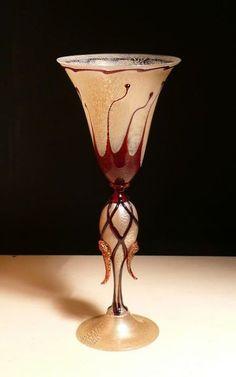 "Murano. D. Vio. ""Bloody"" contemporary goblet."