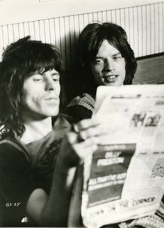 Rolling Stones Keith Richards Mick Jagger during mixing of Git Yer Ya-Ya's Out! At Olympic Studios 1970, as seen in the film Gimme Shelter