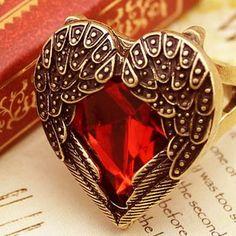 Angel wings Ruby heart ring