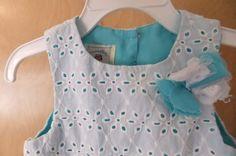 Marmellata Baby Girl Dress 18-24M Aqua Blue White Eyelet Lace Overlay Flowers #Marmellata #DressyEverydayHoliday