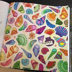 #lostocean #pens #staedtler #fabercastellpencils #fabercastellwatercolourpencils #johannabasford #colour #colours #colouring #colouringbook #patten #pattens #shells #colourful #aninkytreasurehunt