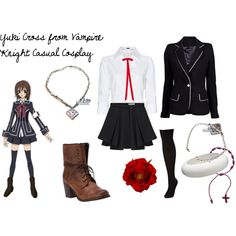 Yuki Cross from Vampire Knight Casual Cosplay by imouto-chan on Polyvore featuring MANGO, Plein Sud Jeanius, Charnos, Steve Madden, Alexis Bittar, Yuki, ASOS, MONO & ME, vampire knight and nerd