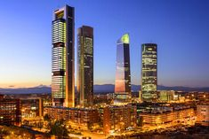 Photographic Print: Madrid, Spain Financial District Skyline at Twilight by Sean Pavone : Detectives Madrid, Property Guide, Emotional Photography, New Spain, Luxury Estate, San Francisco Skyline, Cali, World