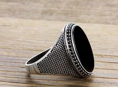 925 K Sterling Silver Man Ring  Black Onyx Gemstone 11,75 US Size B15-63707