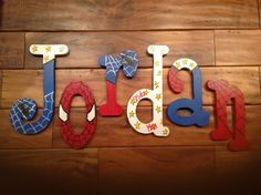 Spider Man letters name hand painted by TWOPINKDOTS on Etsy, $11.00