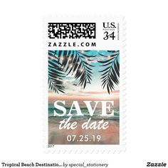 """Tropical Beach Destination Save the Date Postage Beach destination save the date postage stamps featuring a tropical palm beach setting, and string twinkle lights. Click on the """"Customize it"""" button for further personalization of this template. You will be able to modify all text, including the style, colors, and sizes. You will find matching items further down the page, if however you can't find what you looking for please contact me."""