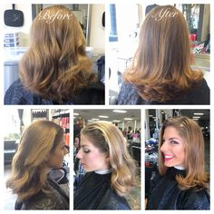 Blowout with round bristle brush. Products used were Pearl Styler and Flowing Form by Wella to give extra hold, reduce frizz and add a glowing shine. 10/16/2015.