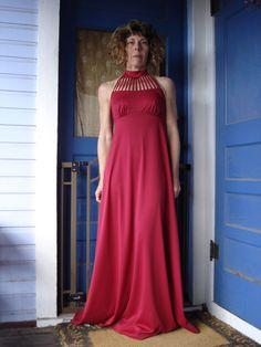 1970s Claret Ruby Red Birdcage Disco Maxi Halter Evening Prom Dress Size Small Medium 2013149.