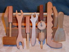 Here is a great set of starter tools for the little handyperson to assist in fixing those household problems. All tools and the tool box are left Wood Tool Box, Wood Tools, Gifts For Boys, Toys For Boys, Fun Projects, Wood Projects, Natural Toys, Wood Gifts, Sewing Toys