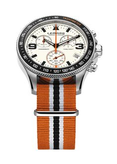 White dial, orange strap. Order at www.lemarqwatches.com.