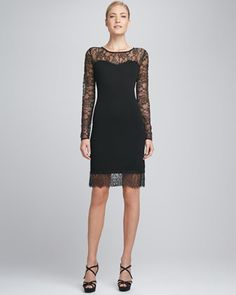 Cashmere & Lace Dress by Christopher Fischer at Neiman Marcus.