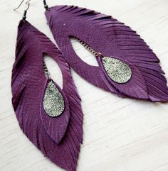 Leather Feather Earrings. Rich Plum. Bohemian Jewelry. Free shipping worldwide. $22.00, via Etsy.