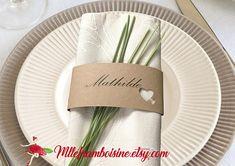 Marque-places rond de serviette mariage champêtre chic