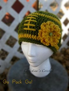 "Crochet Green Bay Packers Hat  ""Go Pack GO!"""