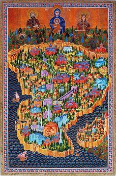 """Istanbul Turkey Istanbul ASTANBOLU 1453 'te Fetihten önce II.Murad döneminde kentin adı İstanbul'dur. (Osman Turan) 10.yüzyı tarihçisi olan El Mes'ûd-i'nin """"Efembeih Veli-il İşref"""" adlı kitabında şehrin adı """"Astan-Bulen"""" olarak geçer. 14.yy. da İbn-î Batûda'nın Seyahatnamesinde şehir """"İztanbul"""" olarak anılmaktadır. Yine aynı asırda Ermeni tarihçi Vartan'nın coğrafya kitabında """"Esdampol"""" (Prof. A. Erzen) diye geçer. Orta Asya'da Turfan'da """"Astana"""" Ancient Maps, Turkish Art, Old Maps, Vintage Maps, Tile Art, Illuminated Manuscript, Religious Art, Map Art, Islamic Art"""