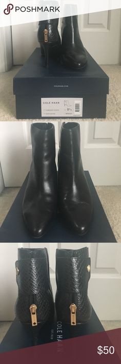 """Cole Haan Claremont boot Cole Haan Claremont shootie/boot. Bought last year and don't wear enough to justify keeping them. Worn maybe once or twice. Excellent condition with cute gold zipper detail and a flap to hide the zipper. Zipper does zip fully up and down  Description from Amazon (size 8): - Leather - Dyed Calf, Fur Origin: Myanmar, {Burma} - Synthetic sole - Shaft measures approximately 6"""" from arch - Heel measures approximately 3"""" - Boot opening measures approximately 9.75"""" around…"""
