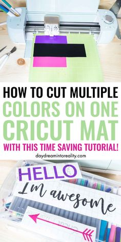 How to Cut Multiple Colors on one Cricut Mat? Have you ever tried cutting multiple colors at the same time on one Cricut mat? I have and today I am going to teach you how to Cut Multiple Colors on one Cricut Mat! Cricut Air 2, Cricut Mat, Cricut Craft Room, Cricut Fonts, Cricut Vinyl, How To Use Cricut, Cricut Help, Circuit Projects, Vinyl Projects
