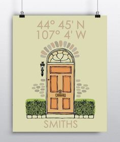 Custom Housewarming Gift Latitude Longitude New Home Art Print Personalized Housewarming Gift, Newlyweds Wedding Gift Wall Art Handmade. Home Sweet Home, front door illustration art print will make the perfect housewarming, newlywed or wedding gift. Featuring the longitude and latitude coordinates of the homes address and family name. Please provide Full home address including zip-code for the Latitude & Longitude coordinates. =======PROOFS======= Once your order is placed, you will…